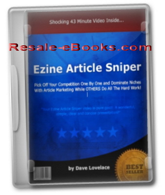 Product picture *NEW!* Ezine Article Sniper Video Course - Niche Domination