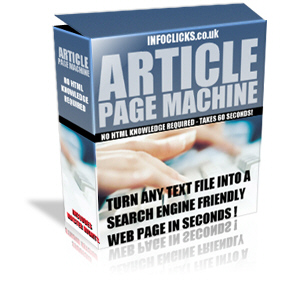Thumbnail *NEW!*	  Article Page Machine - Master Resale Rights | Software Turns Text Into HTML fast!